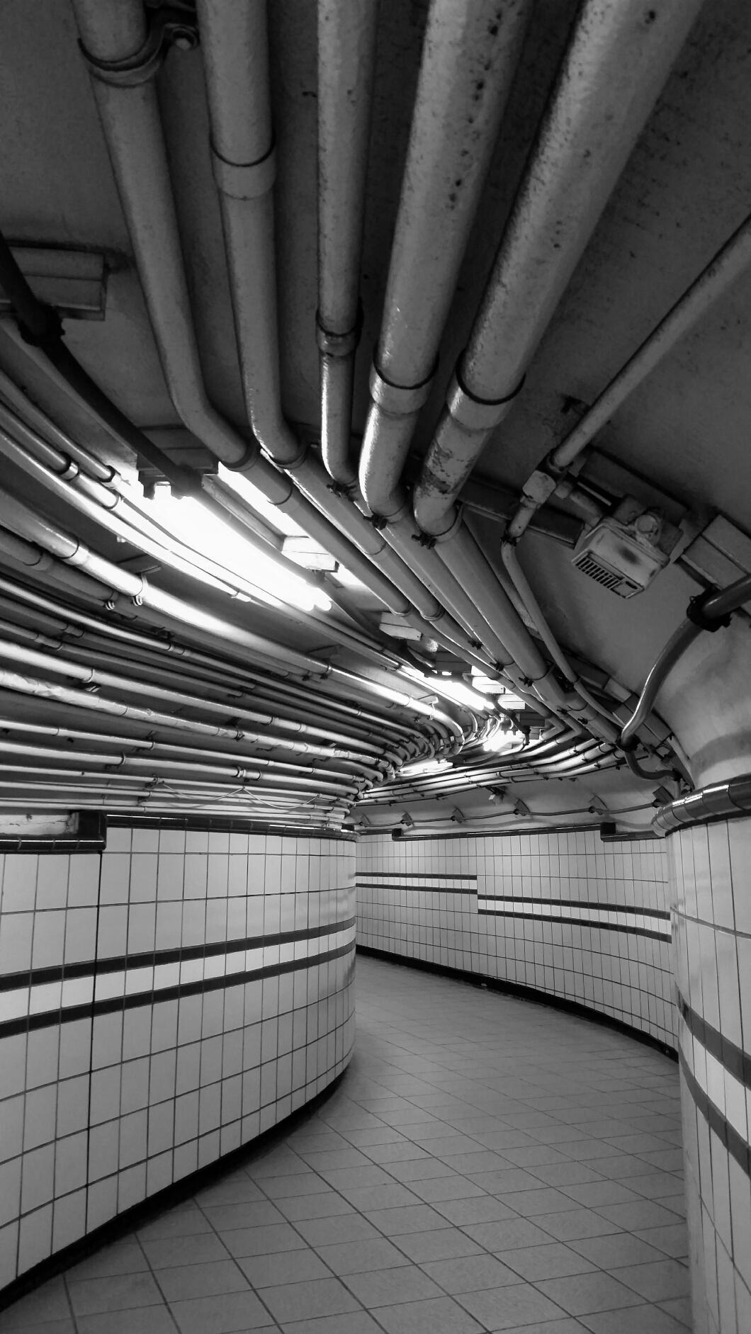 Subway hallway NYC monochrome